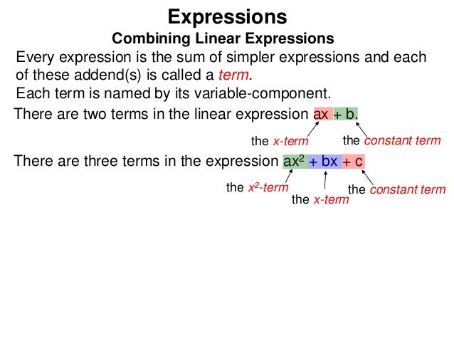 2 expressions and linear expressions