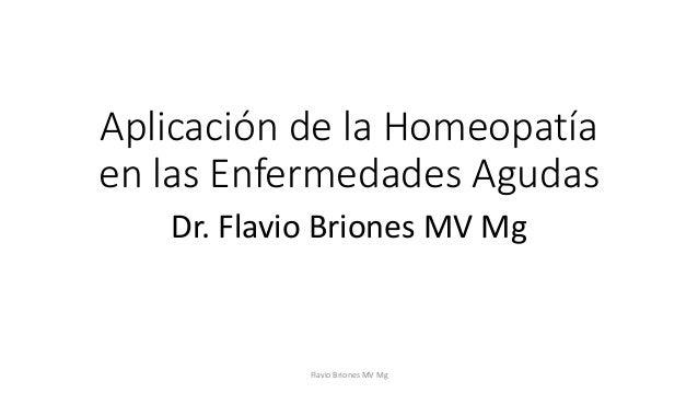 Aplicación de la Homeopatía  en las Enfermedades Agudas  Dr. Flavio Briones MV Mg  Flavio Briones MV Mg