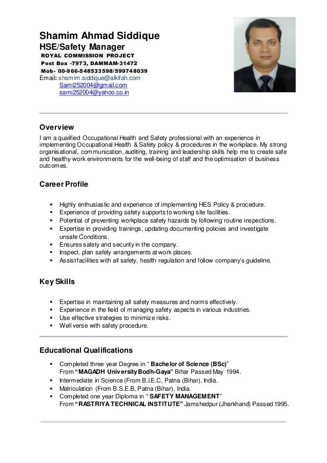 shamim ahmad siddique hsesafety manager royal commission project post box 7973 - Safety Manager Resume