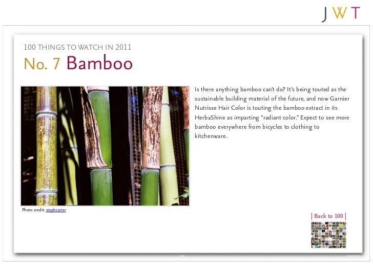 100 THINGS TO WATCH IN 2011No. 7 Bamboo                               Is there anything bamboo can't do? It's being touted...