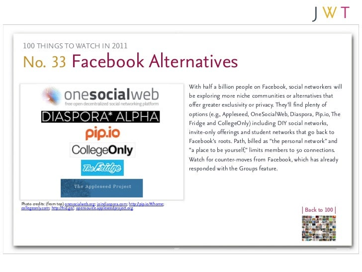 100 THINGS TO WATCH IN 2011No. 33 Facebook Alternatives                                                                   ...