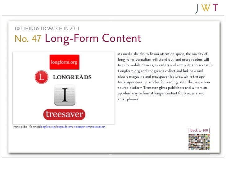 100 THINGS TO WATCH IN 2011No. 47 Long-Form Content                                                                       ...