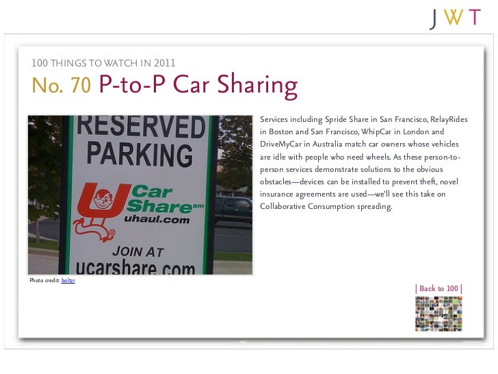 100 THINGS TO WATCH IN 2011No. 70 P-to-P Car Sharing                               Services including Spride Share in San ...