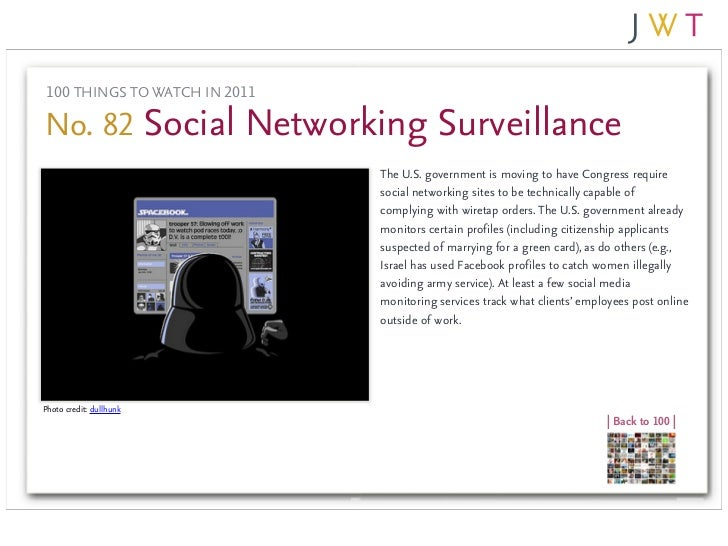 100 THINGS TO WATCH IN 2011No. 82 Social Networking Surveillance                               The U.S. government is movi...
