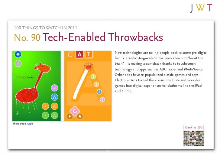 100 THINGS TO WATCH IN 2011No. 90 Tech-Enabled Throwbacks                               New technologies are taking people...