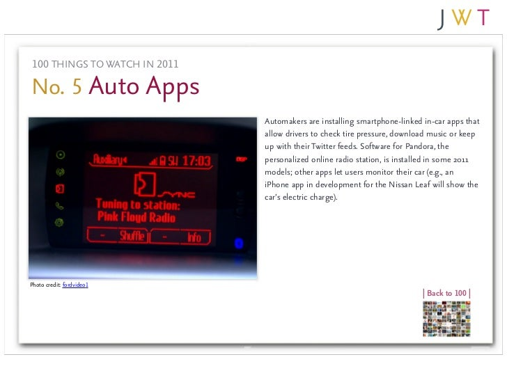 100 THINGS TO WATCH IN 2011No. 5 Auto Apps                               Automakers are installing smartphone-linked in-ca...