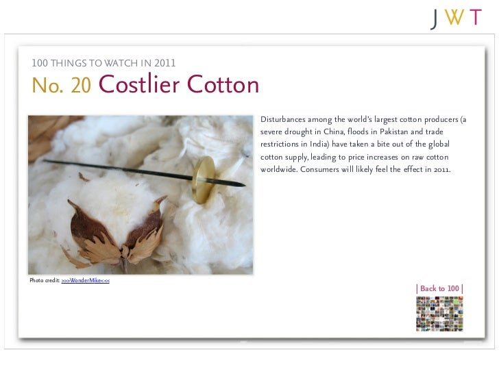 100 THINGS TO WATCH IN 2011No. 20 Costlier Cotton                                 Disturbances among the world's largest c...