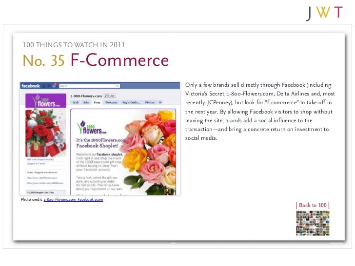 100 THINGS TO WATCH IN 2011No. 35 F-Commerce                                                Only a few brands sell directl...
