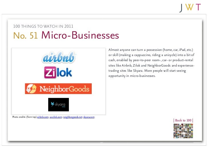 100 THINGS TO WATCH IN 2011No. 51 Micro-Businesses                                                                        ...