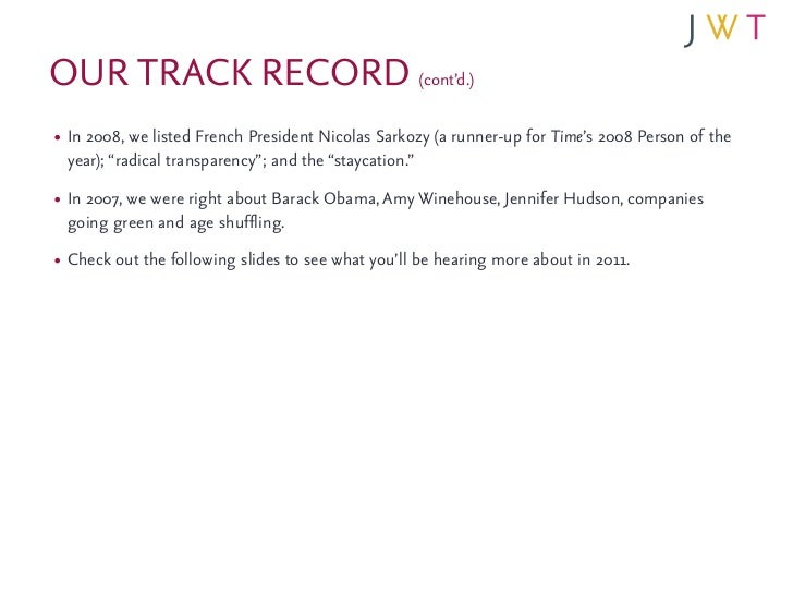 OUR TRACK RECORD (cont'd.)• In 2008, we listed French President Nicolas Sarkozy (a runner-up for Time's 2008 Person of the...