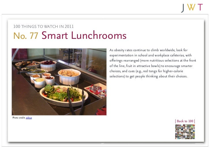 100 THINGS TO WATCH IN 2011No. 77 Smart Lunchrooms                               As obesity rates continue to climb worldw...