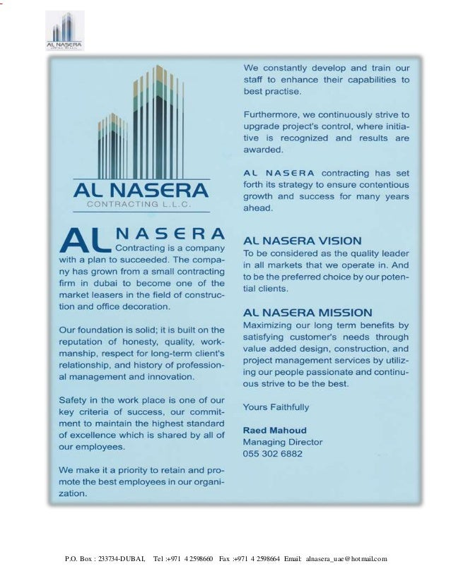 Company profile al nasera contracting llc for Al saffar interior decoration llc