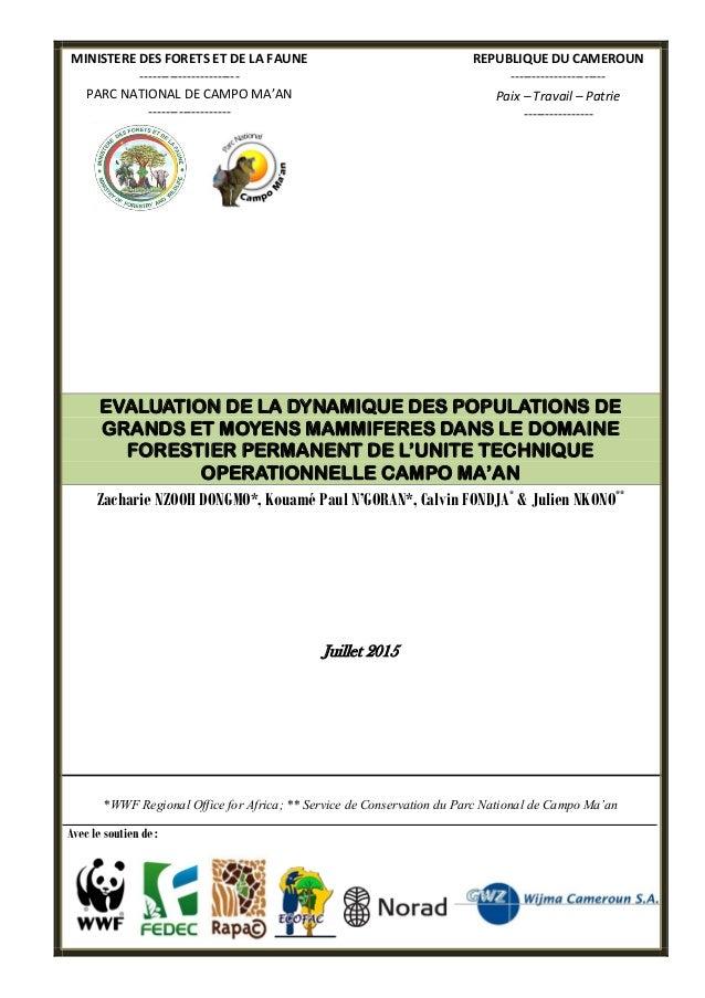 MINISTERE DES FORETS ET DE LA FAUNE ----------------------- PARC NATIONAL DE CAMPO MA'AN ------------------- REPUBLIQUE DU...