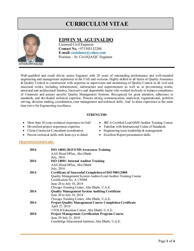 edwin cv for QA-QC Engineer