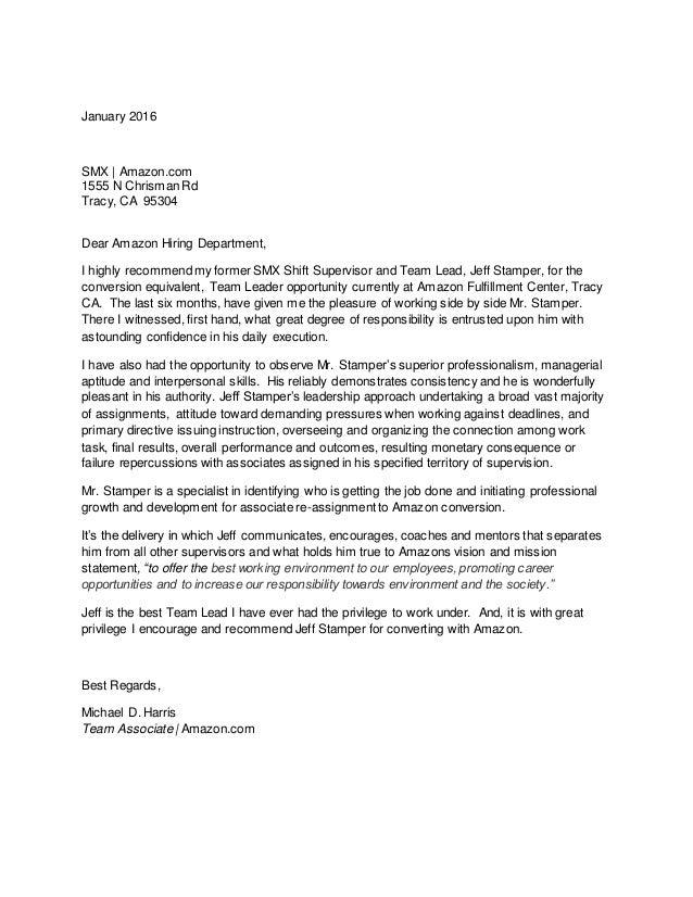 Jeff Stamper Team Lead Letter of Recommendation