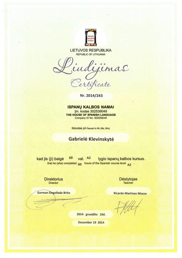 Gklevinskyte Spanish Course Certificate Nivel A2