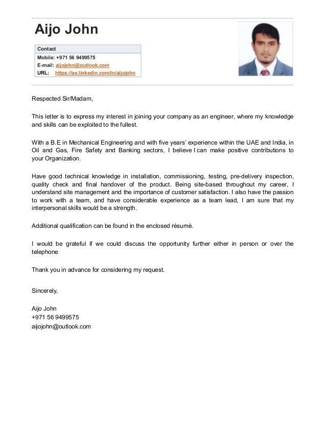 Cover letter- Aijo John 5y Exp.