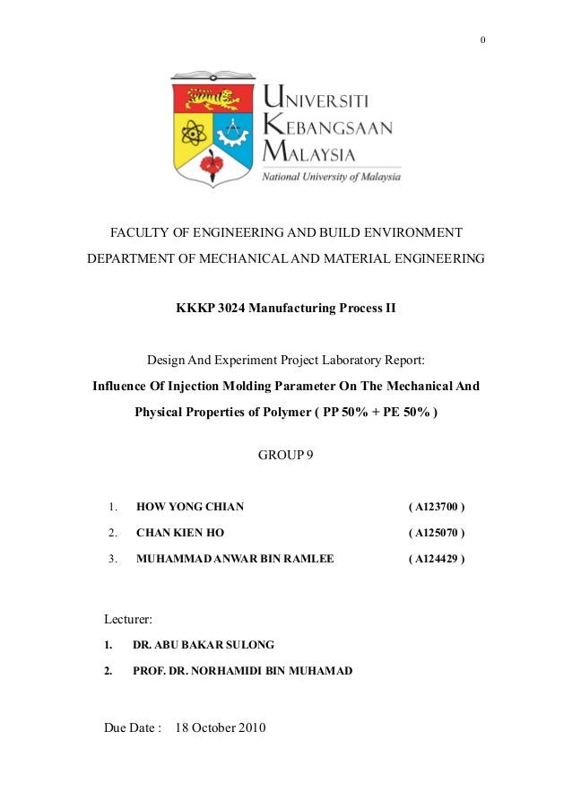 G9 Lab Project Report -Injection Molding