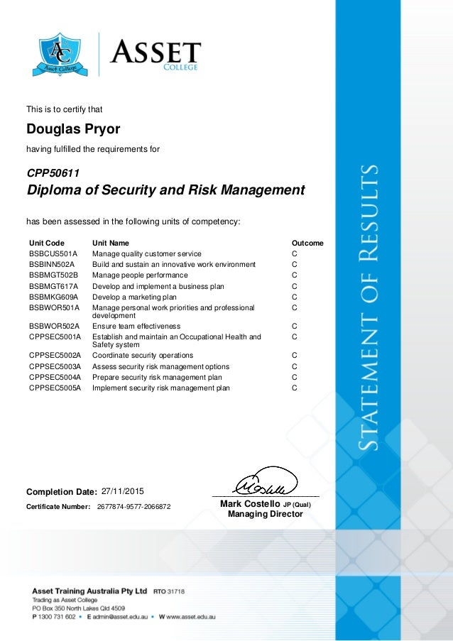 douglas pryor diploma of secutiry risk management