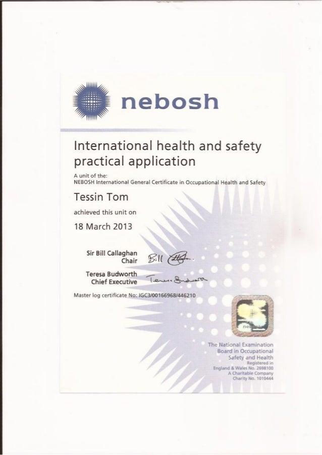 NEBOSH IGC 3 Certificate