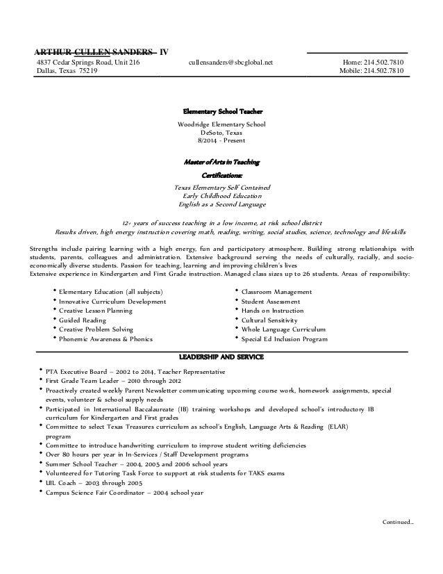 Arthur Cullen Sanders IV - Resume 2015 in WORD 1