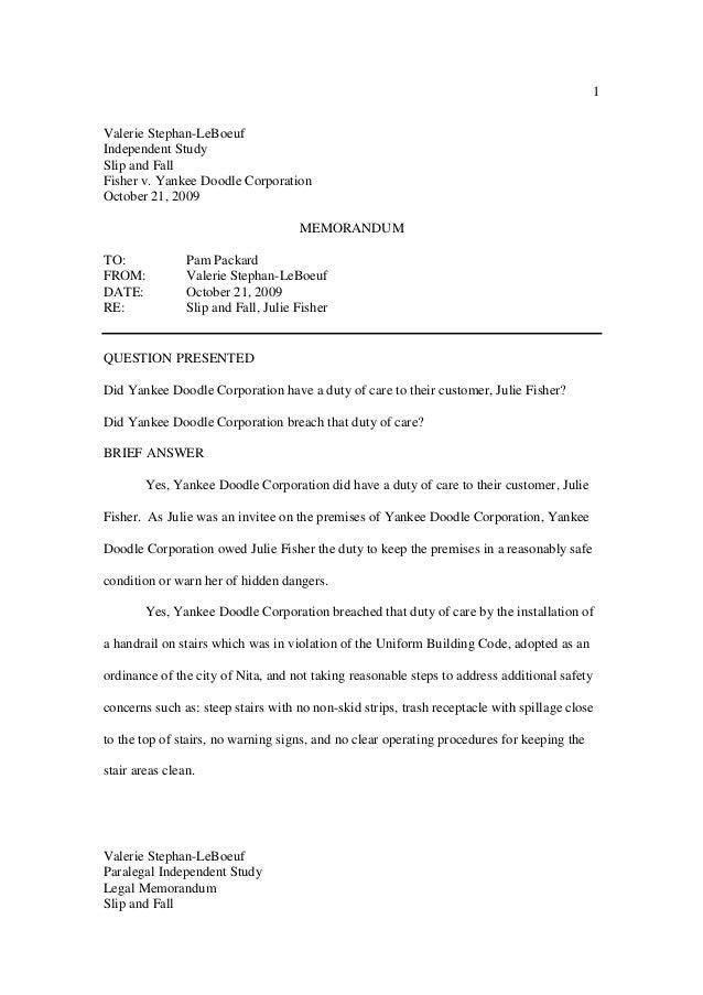 Legal Memorandum Slip and Fall 1