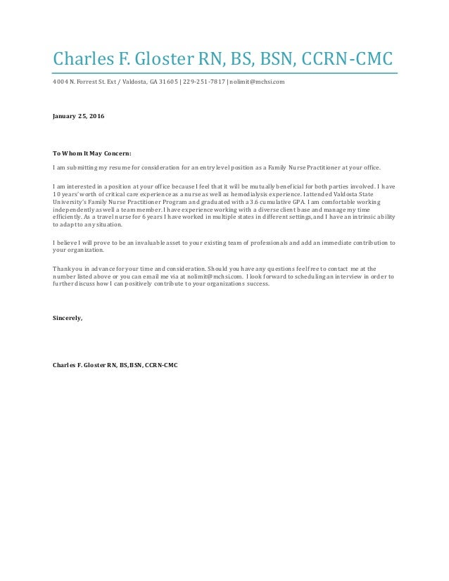 cover letter 2016 charles f gloster rn bs bsn ccrn cmc 4004 n