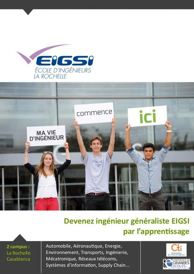 Devenez ingénieur généraliste EIGSI par l'apprentissage Automobile, Aéronautique, Energie, Environnement, Transports, Ingé...