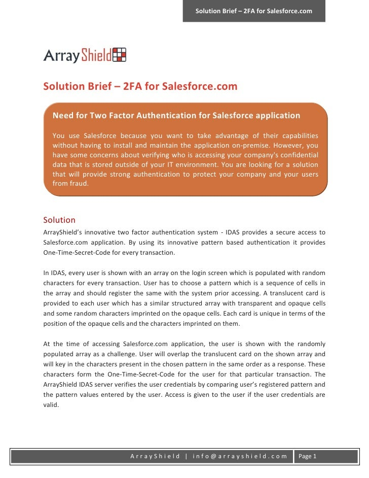 Solution Brief – 2FA for Salesforce.comSolution Brief – 2FA for Salesforce.com   Need for Two Factor Authentication for Sa...