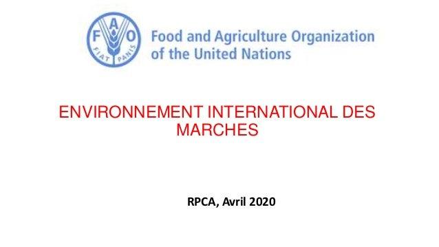 ENVIRONNEMENT INTERNATIONAL DES MARCHES RPCA, Avril 2020
