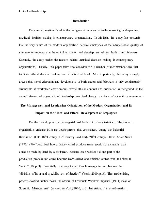 ldr capstone essay four assignment ethics and leadership  2 ethicsand leadership