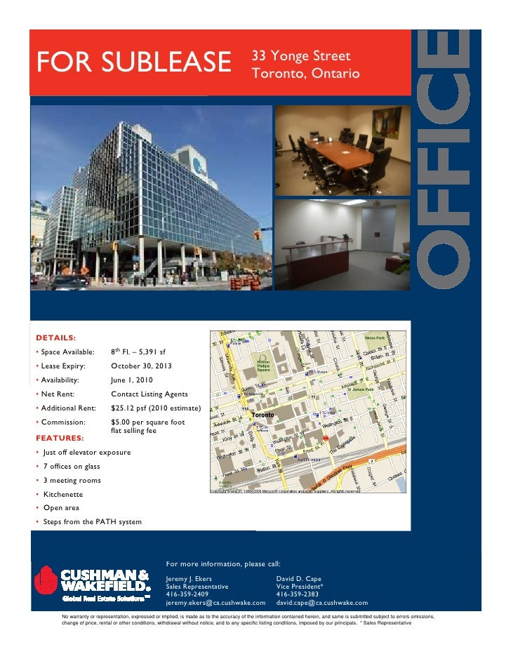 33 Yonge Street FOR SUBLEASE                                                                                Toronto, Ontar...