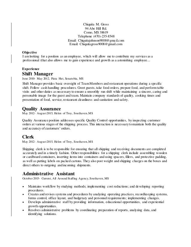sincerely yours chiquita m gross 2 - Cover Letter For Staffing Agency