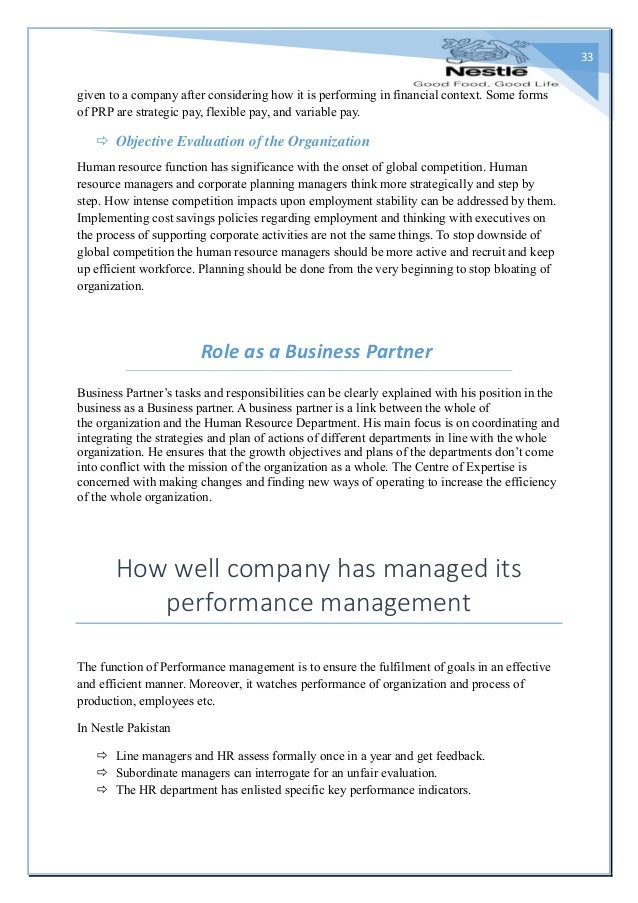 Performance appraisal at nestle