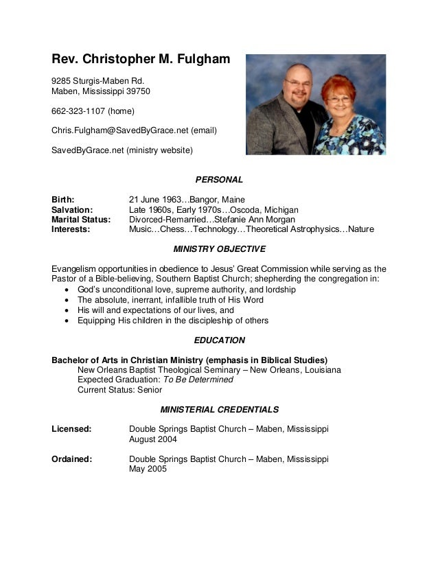 Chris Fulgham - Ministry Resume