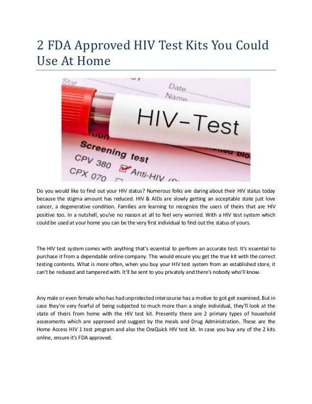 2 Fda Approved Hiv Test Kits You Could Use At Home