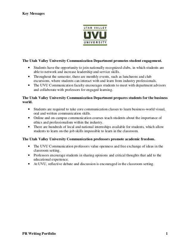 Key Messages PR Writing Portfolio 1 The Utah Valley University Communication Department promotes student engagement.  Stu...