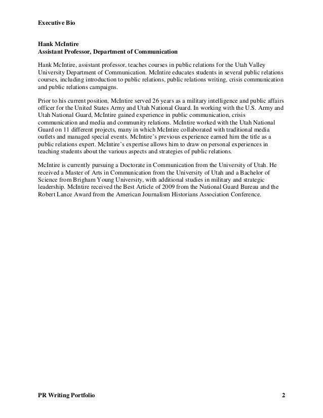 Executive Bio PR Writing Portfolio 2 Hank McIntire Assistant Professor, Department of Communication Hank McIntire, assista...