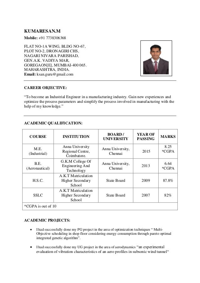 industrial engineering resume kumaresanm mobile 91 7738306368 flat no 1a wing