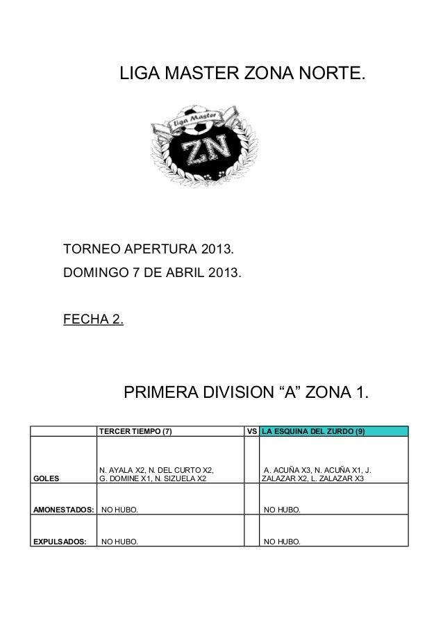 LIGA MASTER ZONA NORTE.        TORNEO APERTURA 2013.        DOMINGO 7 DE ABRIL 2013.        FECHA 2.                     P...