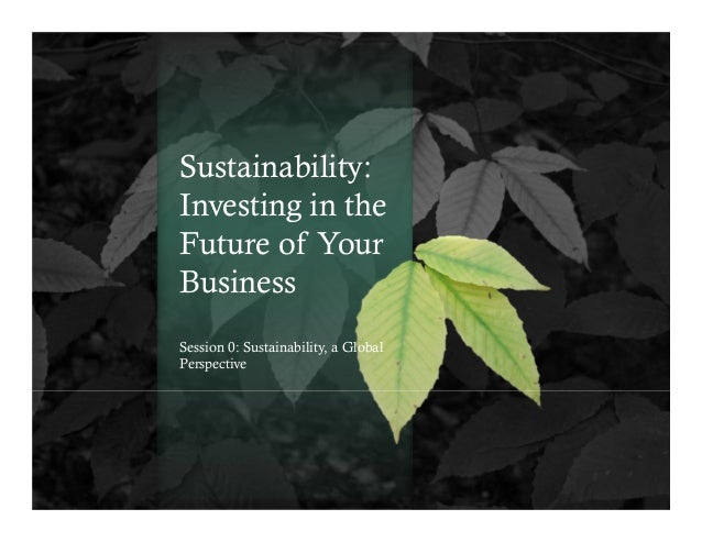 Sustainability: Investing in the Future of Your Business Session 0: Sustainability, a Global Perspective