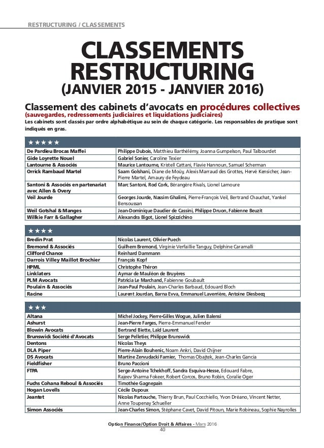 RESTRUCTURING / CLASSEMENTS Option Finance/Option Droit & Affaires - Mars 2016 40 CLASSEMENTS RESTRUCTURING (JANVIER 2015 ...