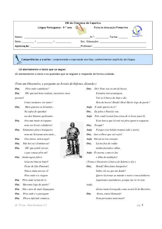 LP – 9º ano – Ficha Formativa nº 2 pag. 1 EBI da Charneca de Caparica Língua Portuguesa – 9 º ano FICHA DE AVALIAÇÃO FORMA...