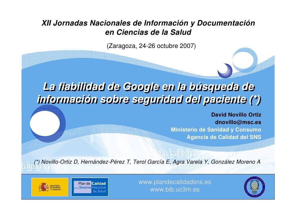 XII Jornadas Nacionales de Información y Documentación LOGO               en Ciencias de la Salud                         ...