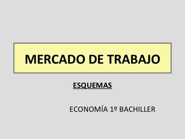 MERCADO DE TRABAJO ESQUEMAS ECONOMÍA 1º BACHILLER