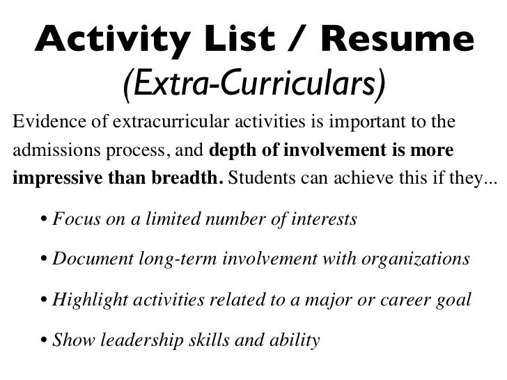list of extracurricular activities for resume resume ideas