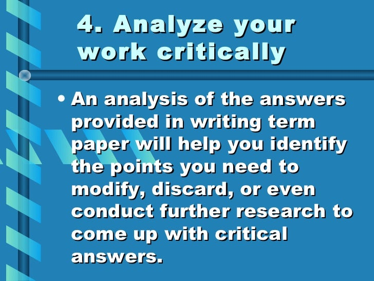 writing term paper tips A research paper is basically a type of academic writing that should have theoretical and significant data that has gone through proper in-depth research.
