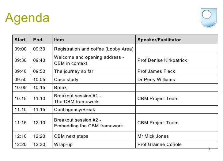 Agenda Start End Item Speaker/Facilitator 09:00 09:30 Registration and coffee (Lobby Area)   09:30 09:40 Welcome and openi...