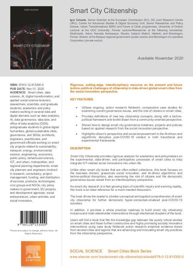 Smart City Citizenship Igor Calzada, Senior Scientist at the European Commission (EC), DG Joint Research Centre (JRC), Cen...
