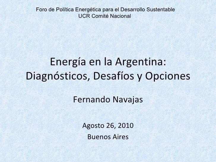 Energía en la Argentina: Diagnósticos, Desafíos y Opciones Fernando Navajas Agosto 26, 2010 Buenos Aires Foro de Política ...